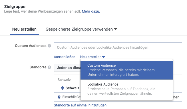 Custom Audience mit FaceBook