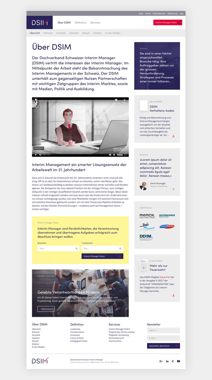 About-Seite mit Hintergrundinformationen zum Verband
