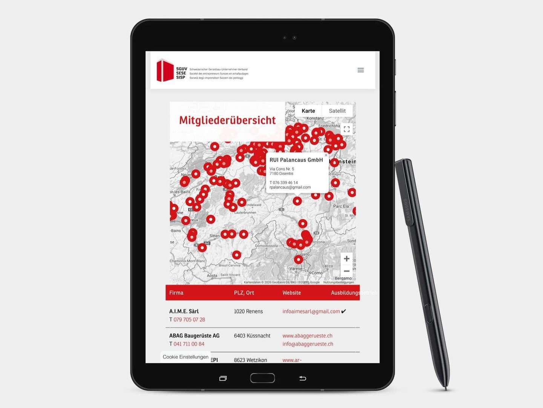 Verbands- Mitgliederübersicht mit einer Interaktive Map