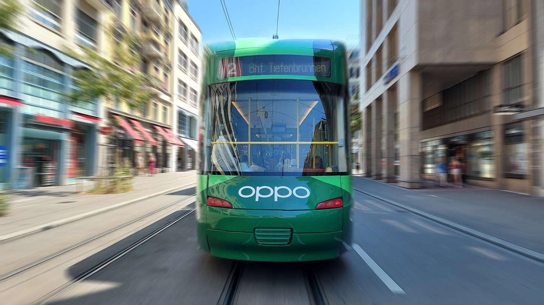 Oppo Tramwerbung & -Beschriftung Rückseite