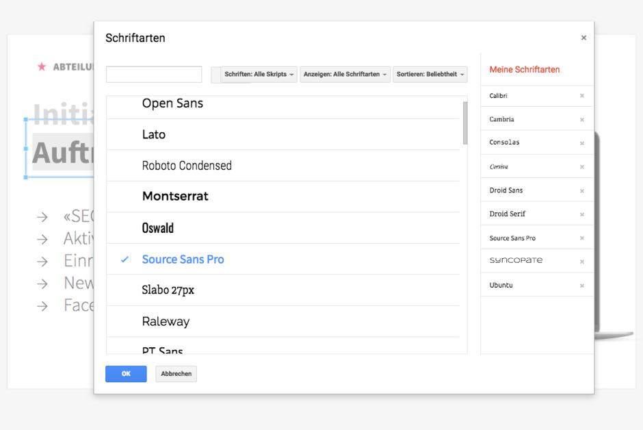 Google Font Library für Google Slides
